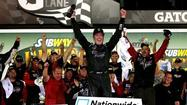 Kurt Busch has won a wild Nationwide race at Daytona International Speedway on Friday night, holding off three challengers over the final hundred yards in a battered race car.