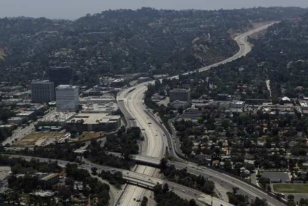 Aerial view of the 405 and 101 Freeway interchange.
