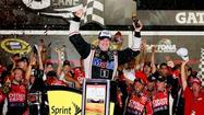 As field wrecks behind him, Stewart wins at Daytona, Bowyer is 29th