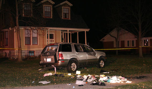 The scene in the 200 block of Delaplaine Road after a crash Dec. 7, 2011. Riverside police photo