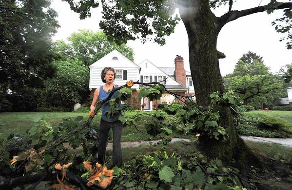 Saturday's violent thunderstorm in Allentown left Elizabeth McDonald with a mess to clean up and thousands still without power a day later.