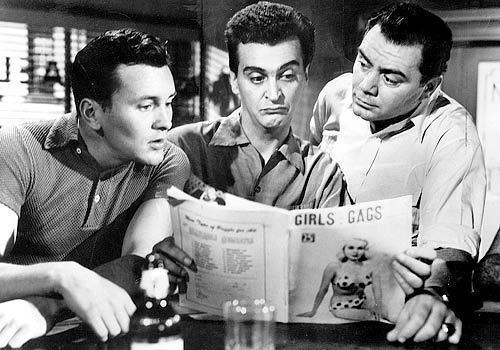"Ernest Borgnine, right, delivered an Academy Award-winning performance as a lonely Bronx butcher looking for love in 1955's ""Marty,"" playing opposite Walter Kelley, left, and Robin Morse."