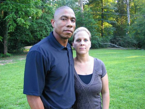 Rodney Pearson, with his wife, Sandy, was removed as police chief in Jasper, Texas, after a racially charged political battle.