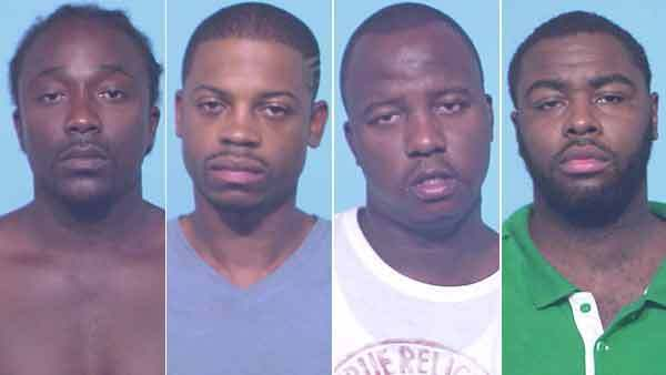 Booking photos of Donald Robinson Jr., Edward Robinson, Corry Simmons, and Alvin L. Goffin (from left)