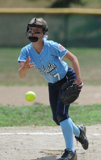 Winchester pitcher Haley Goldhaun delivers a pitch to the plate in a loss to North Laurel Saturday at Lykins Park. Winchester lost 11-4 to Louisville Valley Sports on Sunday and will play Phelps at 5 p.m. Tuesday night.