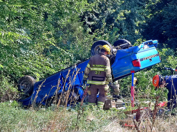 The driver of this Chevrolet pickup truck was airlifted to Meritus Medical Center on Monday morning after the truck went off Interstate 70 about three miles east of Clear Spring and rolled over onto its roof into the median.