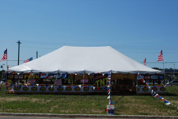 Fireworks for sale at a tent in Gaylord.