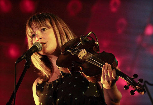 Fiddle player Sara Watkins performing at Pasadena's Levitt Pavilion for the Performing Arts on Friday.