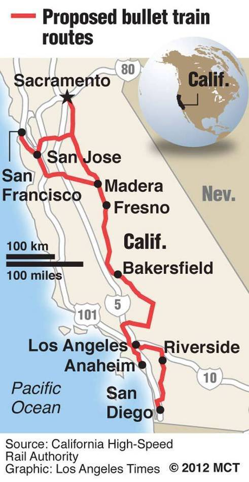 Map of southern California locating the planned route for the California high-speed train; California high-speed rail officials rebuff proposal from French railway to help with project.