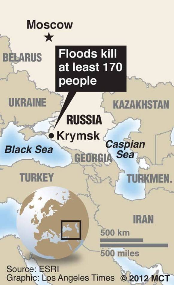 Map of Central Asia locating Krymsk, Russia, a city on the Black Sea where floods killed at least 170 people.
