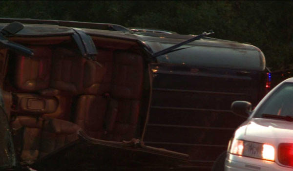 An SUV that crashed on the Bishop Ford Freeway, killing the driver and injuring a passenger this morning.