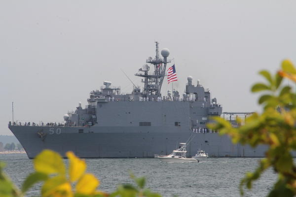 The USS Carter Hall makes its way up the Thames River during the Parade of Sail Saturday afternoon.