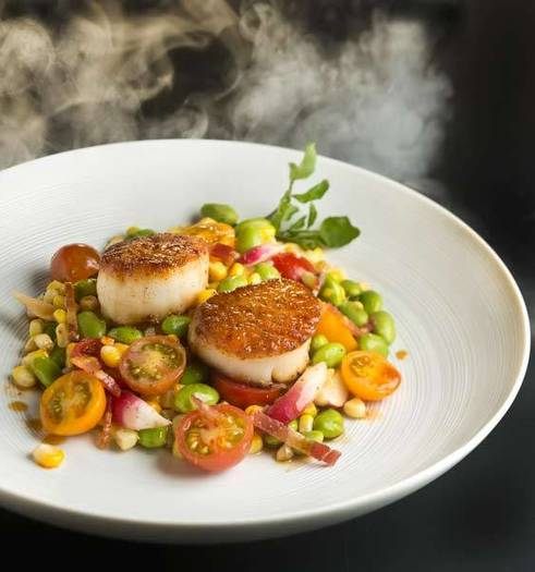 Smoked scallops and succotash