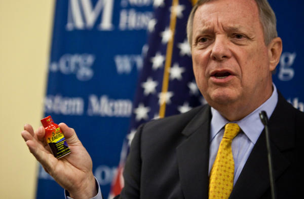 In June 2011, Sen. Dick Durbin talks about legislation requiring the FDA to regulate the skyrocketing number of products being marketed as dietary supplements. On Friday, he sent letters to supplement organizations asking them to spell out their plans for improving manufacturing conditions.