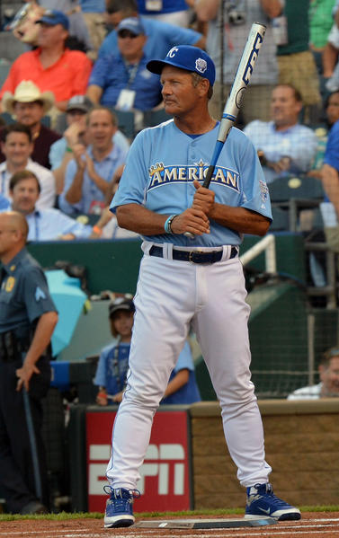 Hall of Famer George Brett participates in the 2012 Taco Bell All-Star Legends & Celebrity Softball Game at Kauffman Stadium.