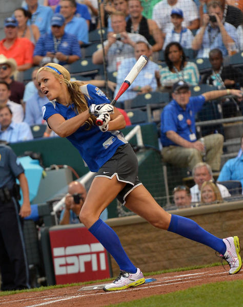 Softball gold medalist Jennie Finch attends the 2012 Taco Bell All-Star Legends & Celebrity Softball Game at Kauffman Stadium on July 8, 2012 in Kansas City,