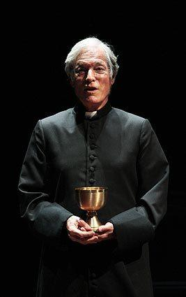Richard Chamberlain portrays Father Merrin, the role inhabited by Max Von Sydow in William Friedkin's 1973 film. If the play moves to Broadway, Malcolm McDowell will reportedly take over for Chamberlain.