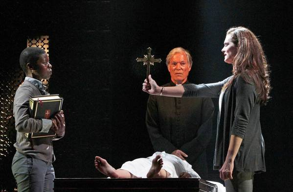 "Brooke Shields, right; Roslyn Ruff, left; Emily Yetter, bottom; and Richard Chamberlain, center, in ""The Exorcist"" at the Geffen Playhouse."