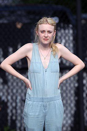 "Dakota Fanning on location in New York City for ""Very Good Girls."""