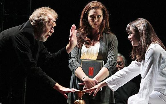 "Burke Dennings (Harry Groener), director of actress Chris MacNeil's (Brooke Shields) latest, tries to help the possessed Regan MacNeil (Emily Yetter) in ""The Exorcist"" at Geffen Playhouse."
