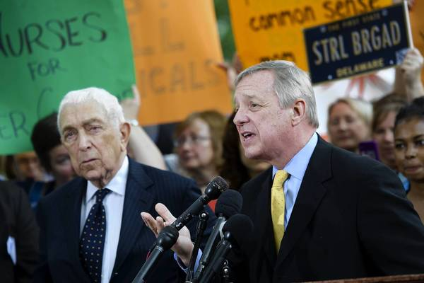 Sens. Frank Lautenberg, D-N.J., and Dick Durbin, D-Ill., call for increasing EPA authority over toxic chemicals at a May news conference in front of the Capitol.