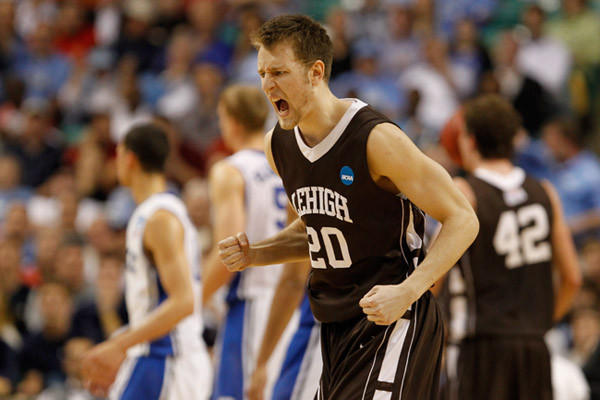 Holden Greiner #20 of the Lehigh Mountain Hawks reacts after a teammate scores in the second half against the Duke Blue Devils during the second round of the 2012 NCAA Men's Basketball Tournament at Greensboro Coliseum on March 16, 2012 in Greensboro, North Carolina.