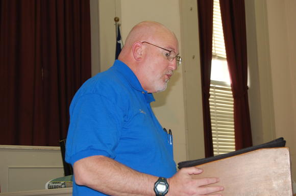 Garrard County Coroner Daryl Hodge talks to Garrard Fiscal Court Monday about the escalating number of drug-related deaths in the community.