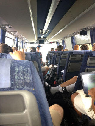 The U.S. under-19 lacrosse team rides a bus to Turku, Finland.