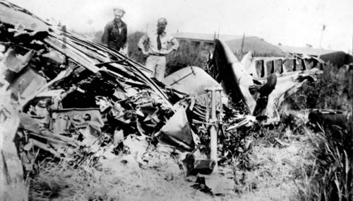 Lt. Eugene M. Bradley, for whom Bradley Airport was named, was killed in a training crash at the Windsor Locks air base on Aug. 21, 1941. Photo is thought to be of the wreckage of Bradley's P-40C fighter.