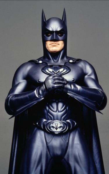 "There they are, those infamous nipples in the costume created for George Clooney in ""Batman and Robin."" Chris O'Donnell was Robin again, and Arnold Schwarzenegger played Mr. Freeze."