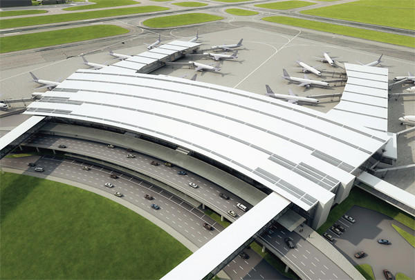 Artist's rendering of the new plan for Terminal B at Bradley International Airport.