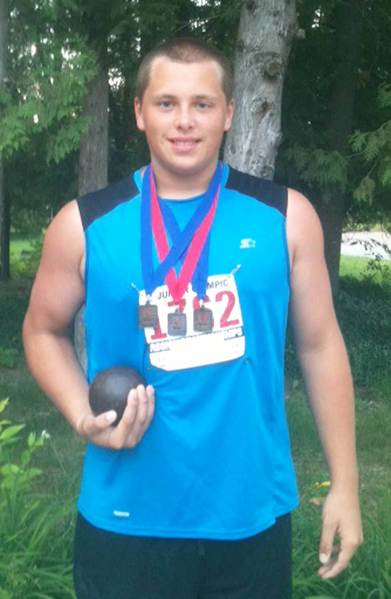 Tommy Roush, 14, of Petoskey, displays the medals he earned at the USA Track & Field Region 5 meet last weekend at Cedarville (Ohio) University. Roush advances to the Junior Olympics at Morgan State University in Baltimore.