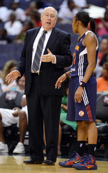 Sun head coach Mike Thibault talks to Connecticut Sun guard Renee Montgomery (21) during the first half against the Washington Mystics at the Verizon Center in Washington, D.C., Tuesday, July 10, 2012.