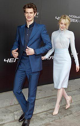 Andrew Garfield and Emma Stone in Moscow on June 15.