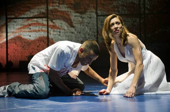 "Luis Adam Poss (Oedipus) and Charin Alvarez (Jocasta) in ""Oedipus el Rey"" at Victory Gardens, directed by Chay Yew."