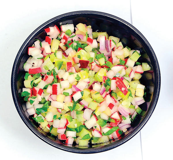 Radish salsa can be made a day ahead.