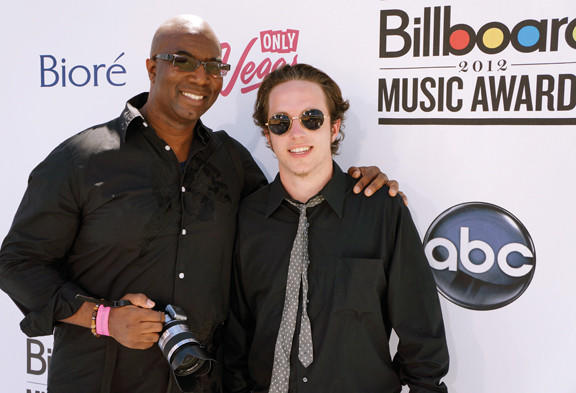 Brennan Elliott of Chambersburg, Pa., is shown with celebrity photographer Matthew Jordan Smith during the Billboard Music Awards.