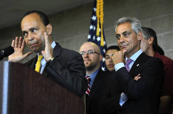 U.S. Rep. Luis Gutierrez, seen here at a press conference with Mayor Rahm Emanuel, on Tuesday joined a growing chorus of Illinois Democrats warning that Rep. Jesse Jackson Jr. needs to be more forthcoming with voters about an undisclosed medical condition.