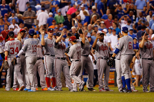 National League All-Stars celebrate their 8-0 victory against the American League during the 83rd MLB All-Star Game at Kauffman Stadium on July 10, 2012 in Kansas City, Missouri.