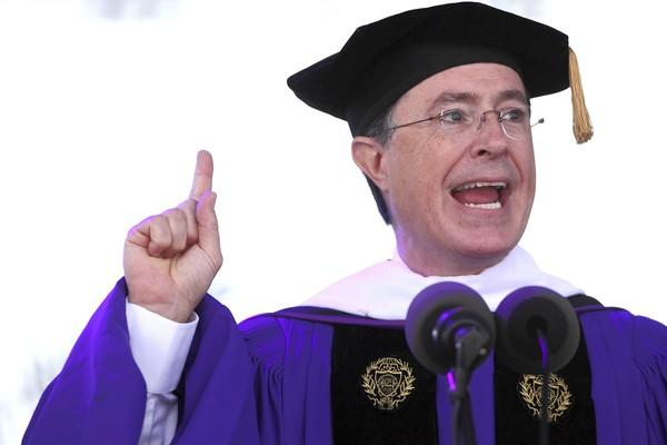 Stephen Colbert gives the keynote speech during Northwestern University's commencement at Ryan Field in 2011. Colbert graduated from NU in 1986.