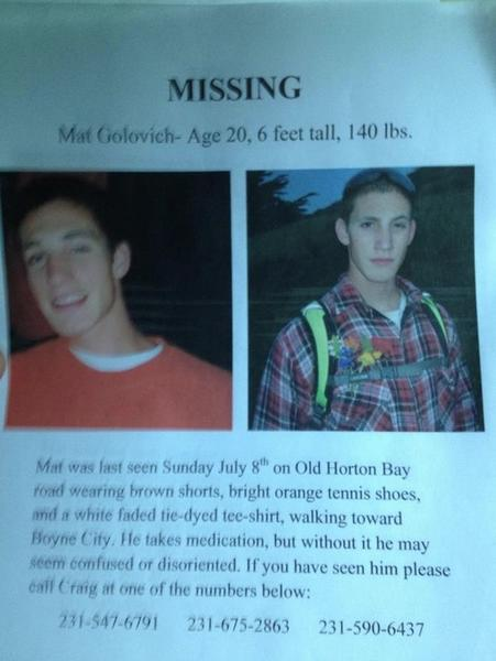 Photo of missing person flier that was posted on the Petoskey News-Review's Facebook page.