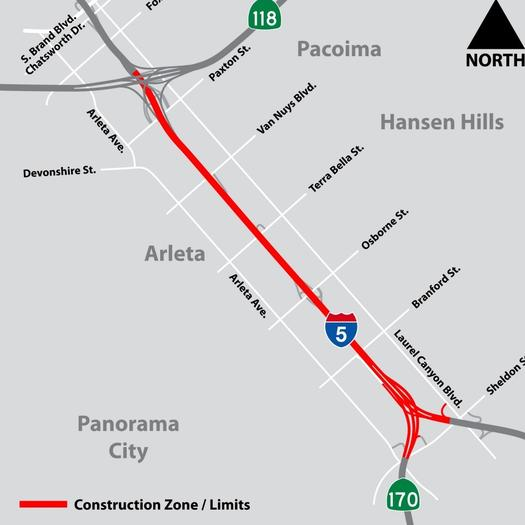 A map of the project area affected by the lane closure.