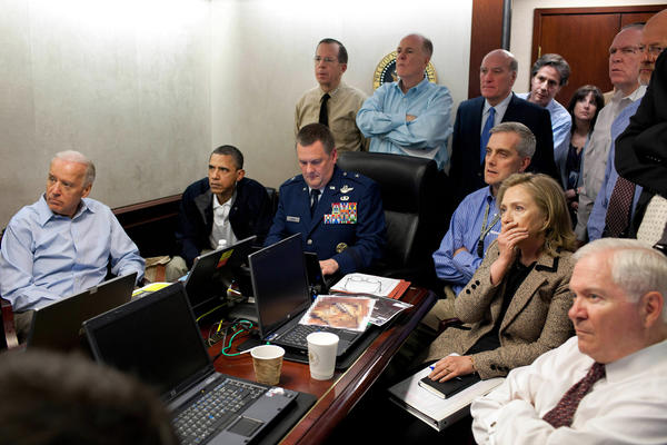 No. 5: U.S. President Barack Obama, second from left, and Vice President Joe Biden, left, watch with members of the national security team the mission against Osama bin Laden in the Situation Room of the White House. Also pictured are Secretary of State Hillary Clinton, second from right, and Defense Secretary Robert Gates, right.