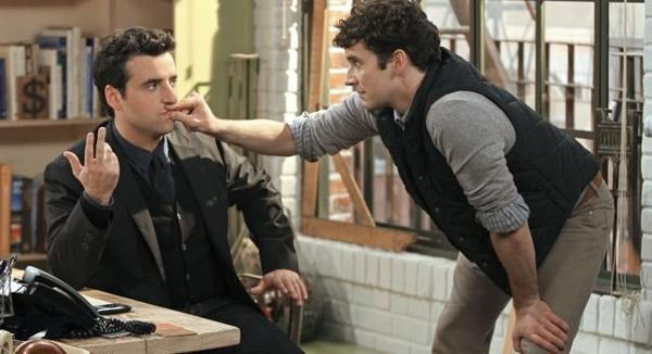 "David Krumholtz (left) and Michael Urie star as life-long friends in ""Partners,"" premiering Sept. 24 on CBS."