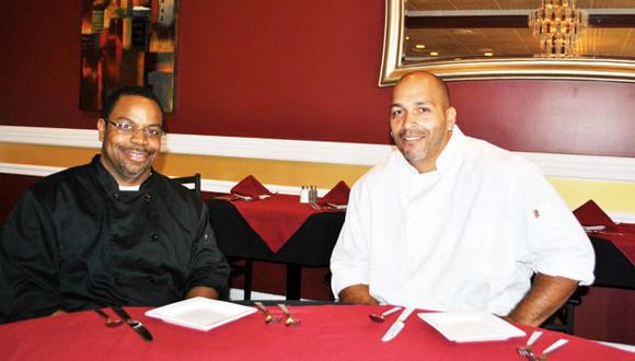 Executive chef Rob Hodge, left, and restaurant chef Rob Martinez in Ambrosia Fine Dining.