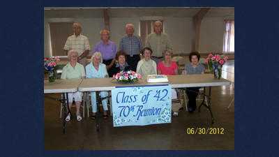 The 1942 graduating class from the Berlin Brothersvalley High School gathered June 30 at the Berlin Community for its 70th year class reunion. From left, seated are: Mary (Ream) Kretchman, Fae (Keidel) Hetrick, Mary Elizabeth (Knepper) Will, Barbara (Miller) Croner, Evelyn (Fisher) Strasser and Ruth (Landis) Kammer. Standing: Homer Boger, James Kendall, Eugene Coughenour and William Brown.