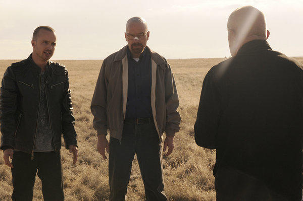 "Jesse Pinkman (Aaron Paul) and Walter White (Bryan Cranston) and Mike (Jonathan Banks) in ""Live Free or Die."""