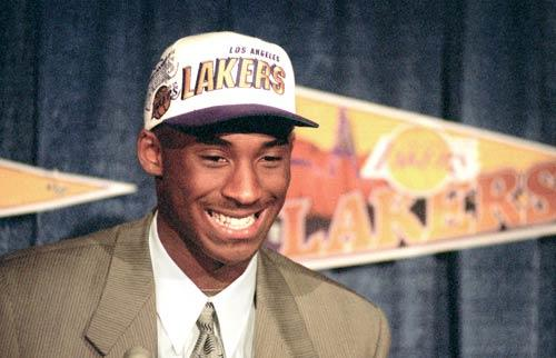Kobe Bryant is all smiles at the July 1996 news conference where he was introduced after the Lakers acquired him from the Charlotte Hornets in exchange for Vlade Divac. The Hornets had selected the 17-year-old right out of high school with the 13th overall choice in the 1996 NBA draft.