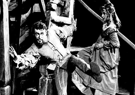 "British actor Peter O'Toole, at 27, stars as Petruchio, with Peggy Ashcroft as Katherine, in a stage production of Shakespeare's ""The Taming of the Shrew"" at the Memorial Theatre, Stratford-upon-Avon, on June 21, 1960."