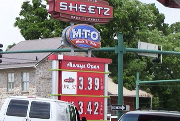 The Sheetz Station at the intersection of Washington Street and Cannon Avenue had the most expensive gas prices among the stations The Herald-Mail visited Wednesday.
